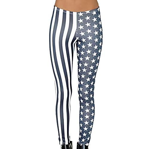Denim Calendar Chart - CapsA Yoga Pants for Women Denim July of 4th America Flag Print Yoga Leggings Workout Sports Fitness Pants