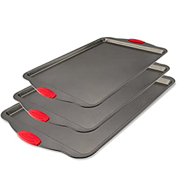 Boxiki Kitchen Nonstick Baking Sheet Pan | 100% Non-Toxic Rimmed Stainless Steel Baking Sheet, No Chemicals or Aluminum | Dent, Warp & Rust Resistant Heavy Gauge Steel Oven Baking Sheet