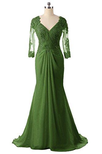 Green of Bride V Long H Dark Dress Women's Lace D Neck S Mother The Mermaid Beaded ggZAWRpq