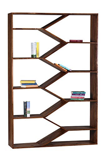 1PLUS Design Sheesham Massivholz Bücherregal 120 x 30 x 180 cm (B/T/H)