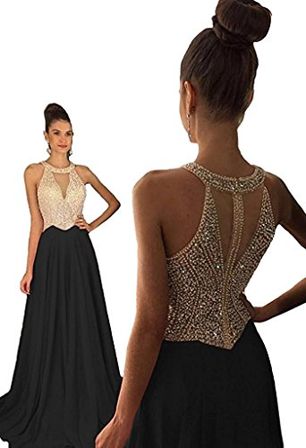 YuNuo Black Halter Prom Dresses Sheer Rhinestone Long Sexy Prom Dress with Crystal A-line Prom Evening Party Gowns - Gown Sheer Halter Evening