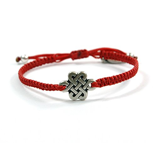Silver Endless Knot (Path to Destiny) Red Woven Charm Bracelet Adjustable for - Woven Knot
