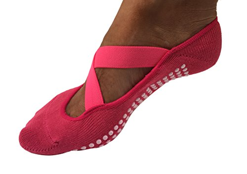 Andee Women's No Slip Crossover Yoga Pilates Socks- One Size (Hot Pink)