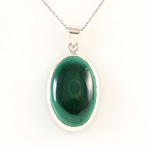 Genuine Stone Vintage (Sterling Silver Oval Genuine Green Malachite Gemstone Heart Chakra Healing Handmade Pendant 16+2'' Chain)