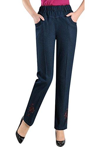 Bigassets Mujeres Verano Primavera Alta Cintura Vaqueros Pantalones Rectos Jeans Bordados Azul Oscuro