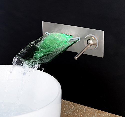 Black Bronze Mangeoo Glass waterfall water into the wall of of of the dark basin faucet LED with lights,Ribbon lamp 748884