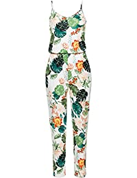 1e8c36786858 U-Story Women s Spaghetti Strap Floral Sleeveless Summer Beach Jumpsuits  Rompers