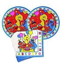 Sesame Street Party Plates and Napkins Set (Party Supplies --16 Luncheon Plates and 16 Napkins Featuring Elmo, Cookie Monster, Big Bird and (Sesame Street Party Big Bird Lunch Napkins)