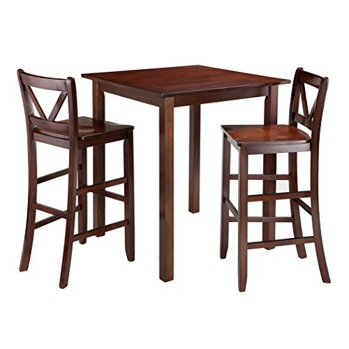 Wood & Style Premium Décor 3-Pc High Table with 2 Bar V-Back Stools ()