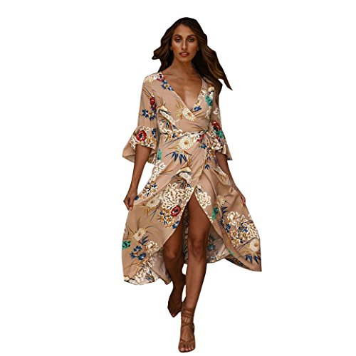 Joint 2018 Summer Boho Dresses, Women's Floral Beach Sundress Bohemia Evening Party Long Maxi Dress (Large, Khaki) (Long Neck Porcelain)