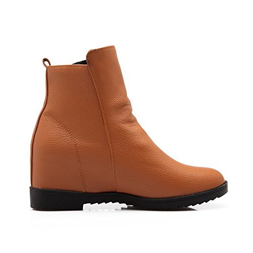 Allhqfashion Women's Round Closed Toe Kitten-Heels Soft Material Low-Top Solid Boots Brown Ci70e