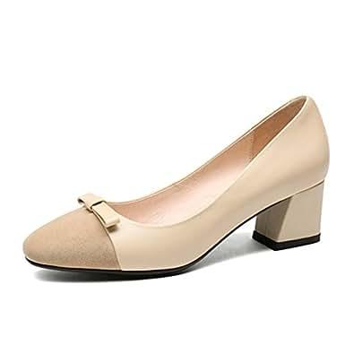 Nine Seven Women's Leather Captoe Heel Bowknot Pump 5 B(M) US Apricot