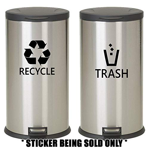 (Recyle Trash Symbol Set (2 pcs) Style5 Decal Sticker For Trash Can Bin Car Truck Window Bumper Wall Size- [6 inch/15 cm] Tall / Color- BLACK Recycle/ BLACK Trash)