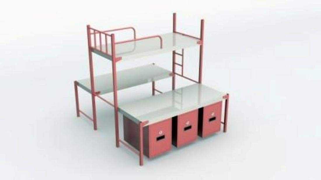 Sahay Single Size 3 Tier Metal Bunk Bed With Drawers Glossy