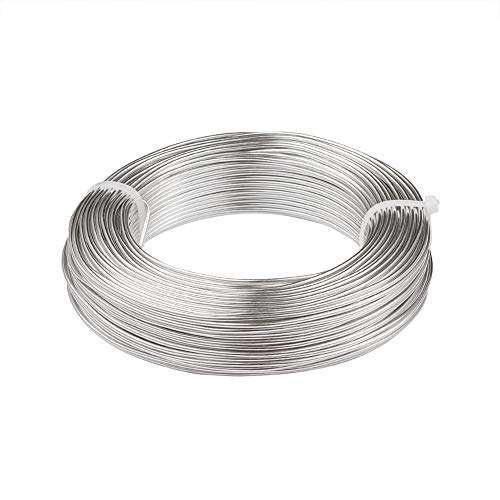 Fashewelry 164 Feet 12 Gauge Aluminum Wire Silver Bendable Metal Craft Wire for Beading Jewelry Craft Making