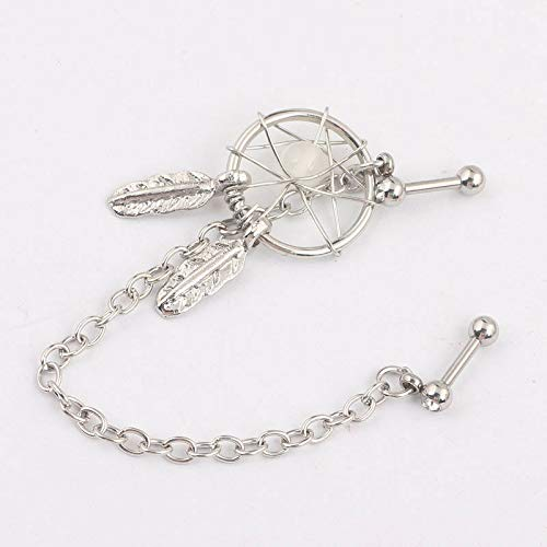 - Dream Catcher Dangle Cartilage Chain Ear Earring Double Tragus Barbell Piercing | Patterns - White Dream Catcher