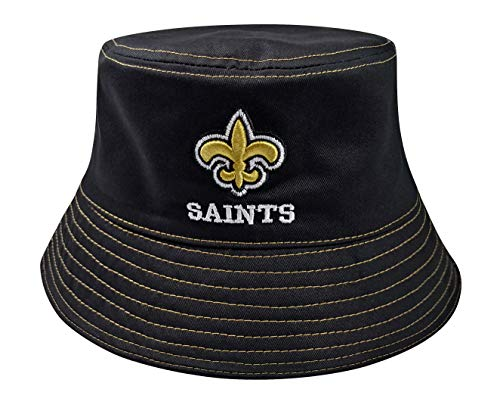 LEMOISTARS 100% Washed Cotton New Orleans Saints Team Pattern Fashion Bucket Hat Cotton Headwear Fisherman Cap hat Black
