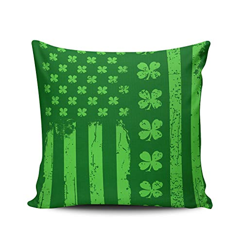 XIUBA Throw Pillow Covers Case Green St Patrick's Day Irish American USA Flag Decorative Pillowcase Cushion Cover 20X20 Inch Square Size Double Sided Design Printed