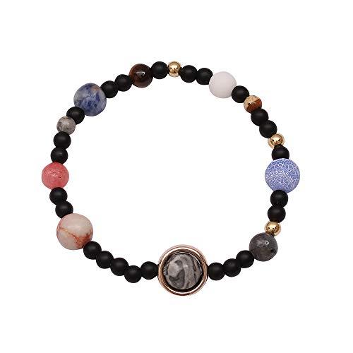 Cywulin Women Men Girls Solar System Bracelet Universe Galaxy The Eight Planets Guardian Star Natural Stone Beads Bracelet Bangle