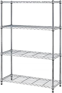 Estanteria Metalica Cromada 4 Baldas 91 x 35 x 137 cm de diseño para cocina garage pasillo. Soporta hasta 640kg