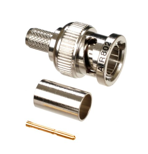 - AIR802 BNC Plug-Male Crimp Connector, 75 Ohm, 3 Piece, 20 AWG, for Cable Types: RG-59, RG-59/U; Belden 734A1; Belden 9275; Belden 1426A; Belden 1505A; Belden 1506A; Belden 549945; Belden 8212; Belden 649948; Belden 643948; Commscope PS59BCPP Coaxial Cable
