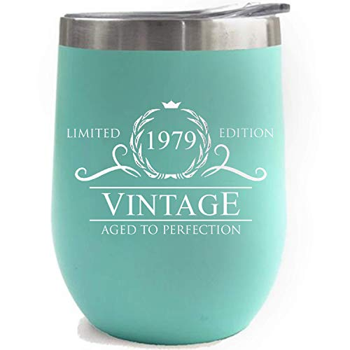 1979 40th Birthday Gifts for Women Men Tumbler | 12 oz Mint Stainless Steel Insulated Tumblers | Anniversary Gift Ideas for Husband Wife Mom Dad | Party Decorations Supplies Him Her Cups