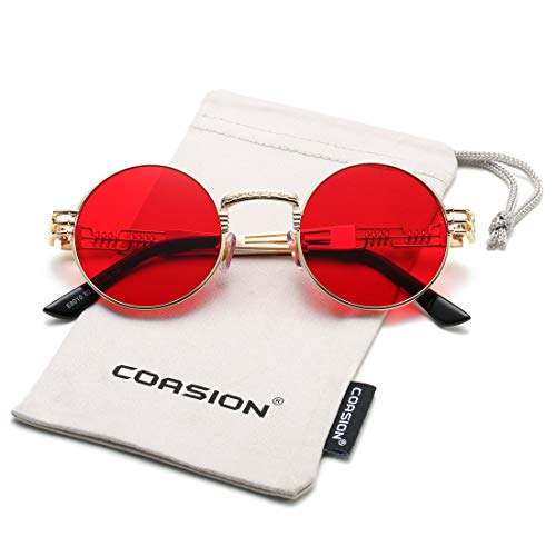 COASION Vintage Round John Lennon Sunglasses Steampunk Gold Metal Frame Clear Sun Glasses (Gold Frame/Red Lens)