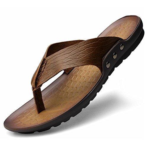 SHANGXIAN Los hombres de pie chanclas en las sandalias de cuero Casual de verano Khaki