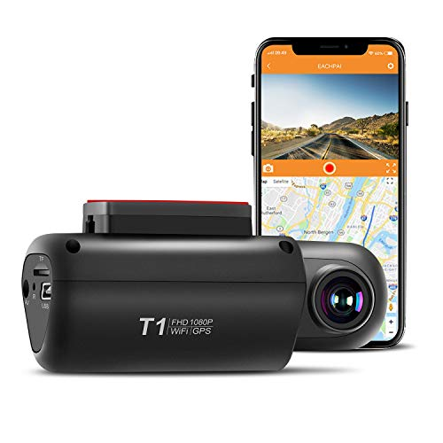 GPS Dash Cam for Cars, EACHPAI T1 Dash Camera Front 1080P with Built-in WI-FI, Wide Angle, WDR, G-Sensor, Loop Recording and Motion Detection,Night Vision