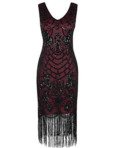 PrettyGuide Women's Flapper Dress Vintage Sequin Art Deco Cocktail 1920s Gatsby Dress S Burgundy