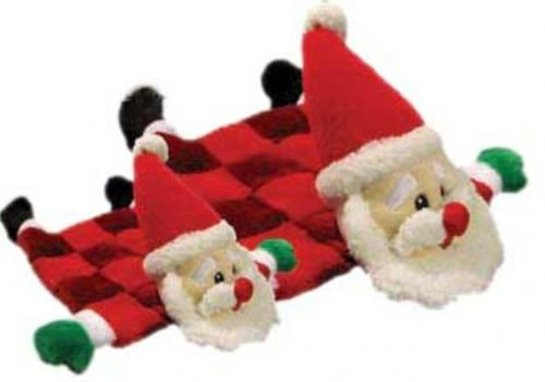 Outward Hound Kyjen  PP03316 Squeaker Mat Santa 16 Squeaker Plush Squeak Toy Holiday Dog Toys, Large, Red