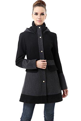 BGSD Womens Marwa Color Block Hooded Wool Blend Coat,Black,Medium
