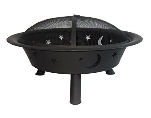 Catalina Creations AD796-BLK 29 Stars and Moons Outdoor Fire Pit, 29 x 29 x 9 , Black