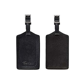 Travelambo Genuine Leather Luggage Bag Tags (black 2 pcs set)