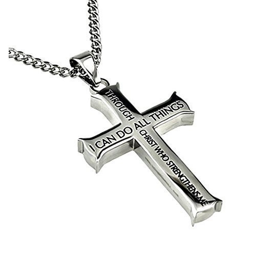 North Arrow Shop Philippians 4:13 Jewelry, Cross Necklace STRENGTH Bible Verse, Stainless Steel with Ball Chain (20'' Curb Chain)