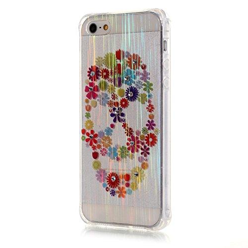 Voguecase® für iPhone SE hülle, Schutzhülle / Case / Cover / Hülle / TPU Gel Skin (LS/Bunt Blumen 11) + Gratis Universal Eingabestift