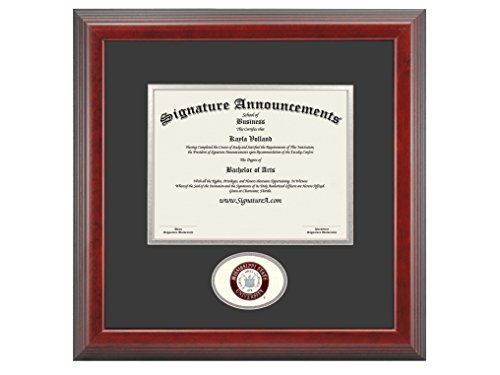 Signature Announcements Mississippi State University (MSU) Undergraduate and Graduate Graduation Diploma Frame with Sculpted Foil Seal (Cherry, 16 x 16)