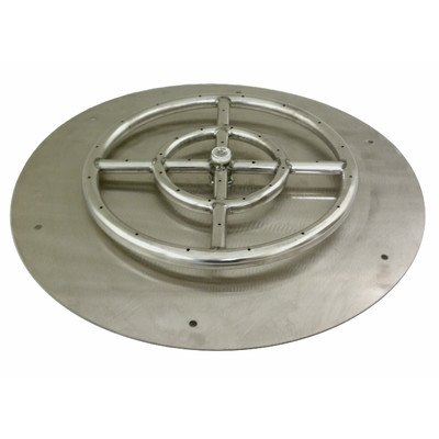 American Fireglass Round Stainless Steel Flat Fire Pit Burner Pan, 30-Inch