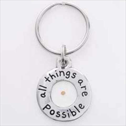 Genuine Mustard Seed Pewter Keychain with Faith All Things Are Possible