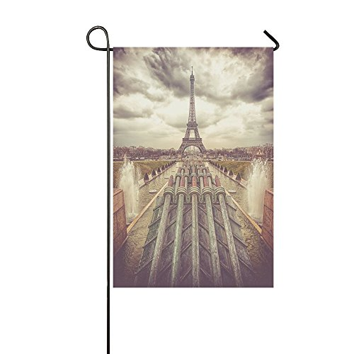 InterestPrint Eiffel Tower in Paris France Double Sided Polyester Garden Flag Banner 12 x 18 inch, Water Cannons Decorative Yard Flag for Party Home Outdoor Decor