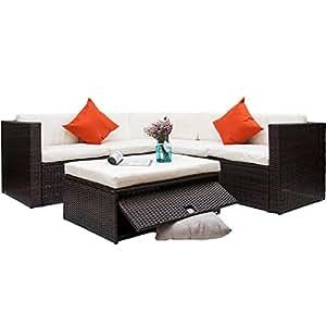 Merax Juego de muebles de jardín de ratán sintético muebles de jardín sofá de esquina de sección