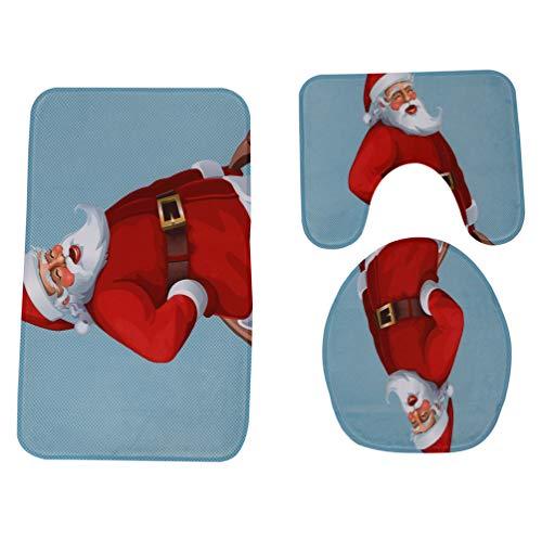 JPJ(TM) New❤Bathroom Toilet Cover❤3Pcs Hot Fashion Christmas Bathroom Non-Slip Pedestal Rug + Lid Toilet Cover + Bath Mat Set (F) by JPJ(TM) _Christmas products