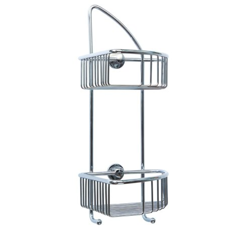 No Drilling Required Draad Premium Solid Brass Shower Caddy 16 in. Double Shelf Corner Mount with 2 Hooks in Chrome by Nie Wieder Bohren