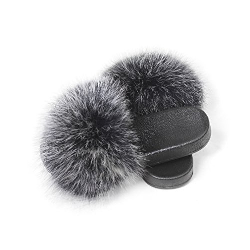 - Fur Story Women's Fur Slipper for Outdoor Soft Flat Slide Sandels with Real Fox Fur L 18S01 (Silvery Black)