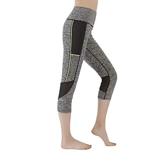 Landscap Women's Mesh Stitching High-Waist Running Fitness Stretch Capri Leggings Yoga Pants(Gray,XL)