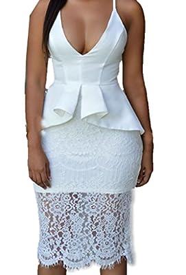 ZKESS Womens Sleeveless Deep V Neck Floral Lace Overlay Peplum Dress