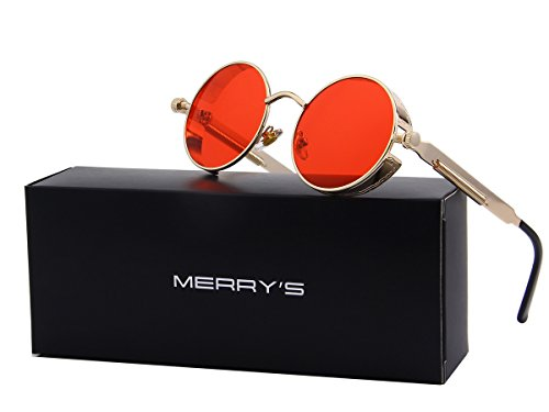 MERRY'S Sunglasses Steampunk Round Lens Metal Frame Unisex Glasses S567 (Gold&Red, - Faces Best For Round Frames