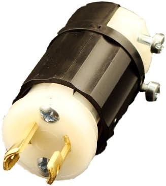 Locking Plug Non-Grounding Leviton ML1-P 15 Amp Industrial Grade 125 Volt Black-White MiniLock