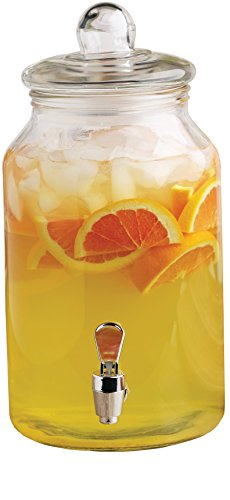 Circleware Charming Country Glass Beverage Drink Dispenser, 1 gallon, Clear