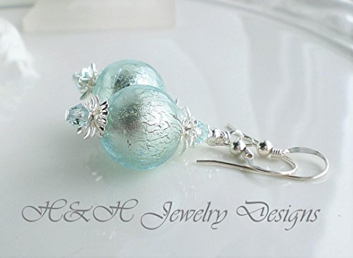Light Aqua Blue White Gold Murano Glass Earrings by H&H Jewelry Designs